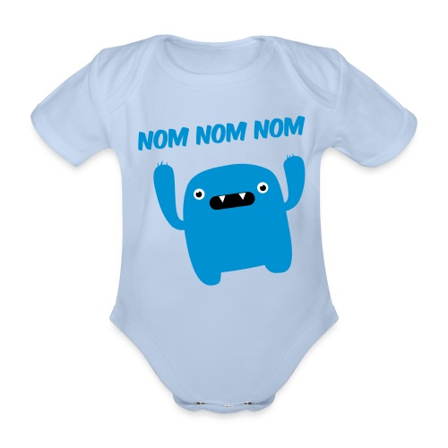 babyVESTboys hungry monster - Organic Short-sleeved Baby Bodysuit