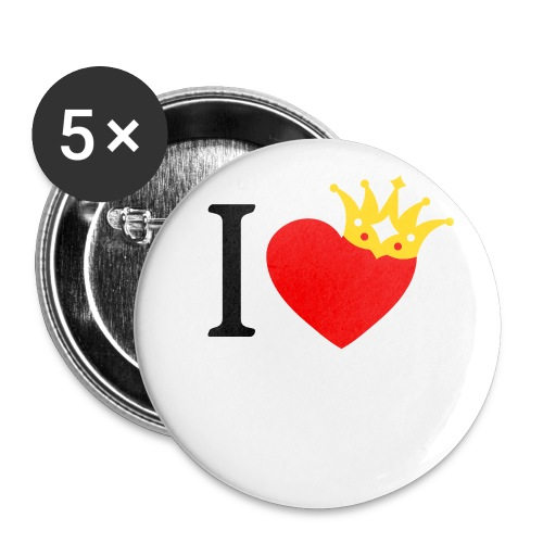 I LOVE ... mit Herz & Krone 1 + Dein Text mit edding | Buttons 56 mm - Buttons groß 56 mm