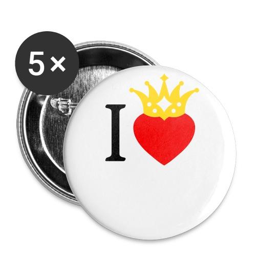 I LOVE ... mit Herz & Krone 2 + Dein Text mit edding | Buttons 56 mm - Buttons groß 56 mm (5er Pack)