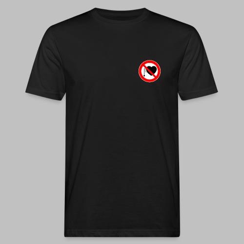 Männer T-Shirt klimaneutral mit Herzschrittmacher-Verbot-Symbol auf der Brust - Männer Bio-T-Shirt
