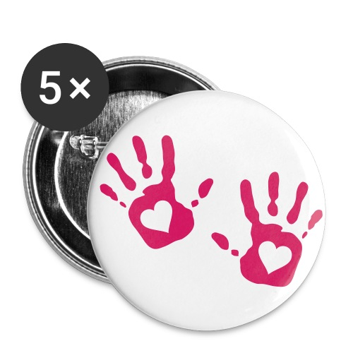 Hand-Heart Print Badges - Buttons small 25 mm
