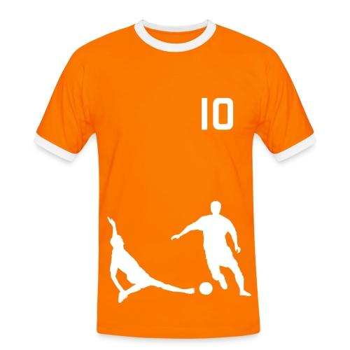 Soccer2 Orange/White - Men's Ringer Shirt