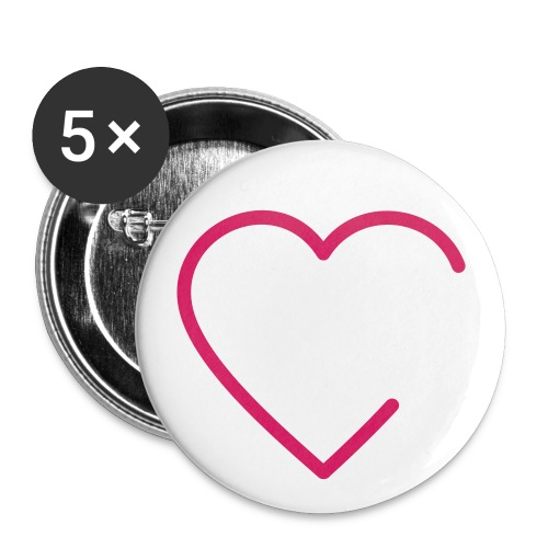 Buttons Herz - Buttons groß 56 mm (5er Pack)