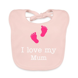 pink Babys bib With foot design and text - Baby Organic Bib