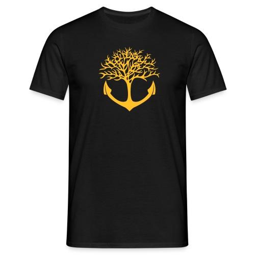 Männer Shirt - schwarz/ Motiv gelb & vorn - Männer T-Shirt