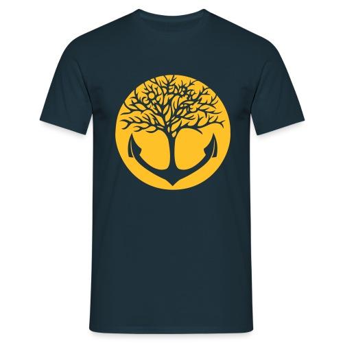Männer Shirt - navy/ Motiv gelb & vorn - Männer T-Shirt
