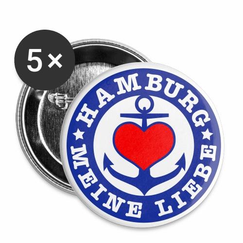 Herz auf Anker HAMBURG MEINE LIEBE 2c Button Anstecker - Buttons mittel 32 mm (5er Pack)