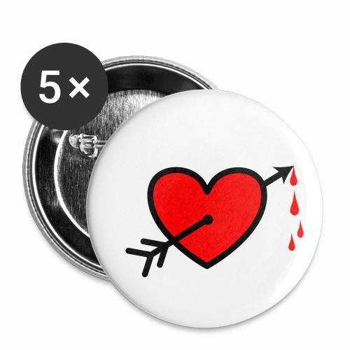 I LOVE - Pfeil durchs Herz - Neon Rot + schwarz Anstecker Button - Buttons mittel 32 mm