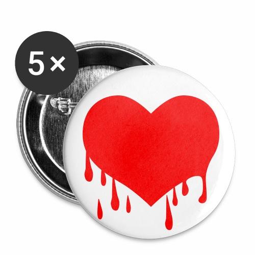 Liebe Love - Herzblut - Neon Rot + schwarz Anstecker Button - Buttons mittel 32 mm (5er Pack)