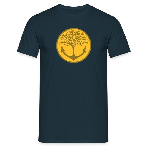 Männer Shirt - navy/ Motiv gold & gelb - Männer T-Shirt