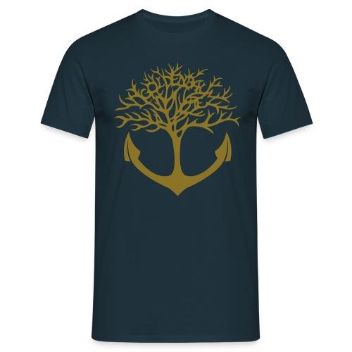 Männer Shirt - navy/ Motiv gold-matt & vorn - Männer T-Shirt