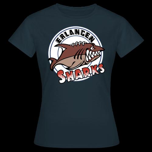 Logo auf navy T-Shirt (w) - Frauen T-Shirt