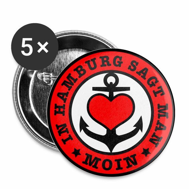 In HAMBURG sagt man MOIN / Anker Herz Button Anstecker