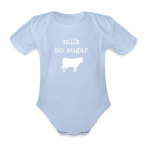 Milk no sugar white/black - Organic Short-sleeved Baby Bodysuit