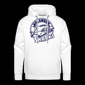 Logo Navy auf weißem Hoodie (m) - Männer Premium Hoodie