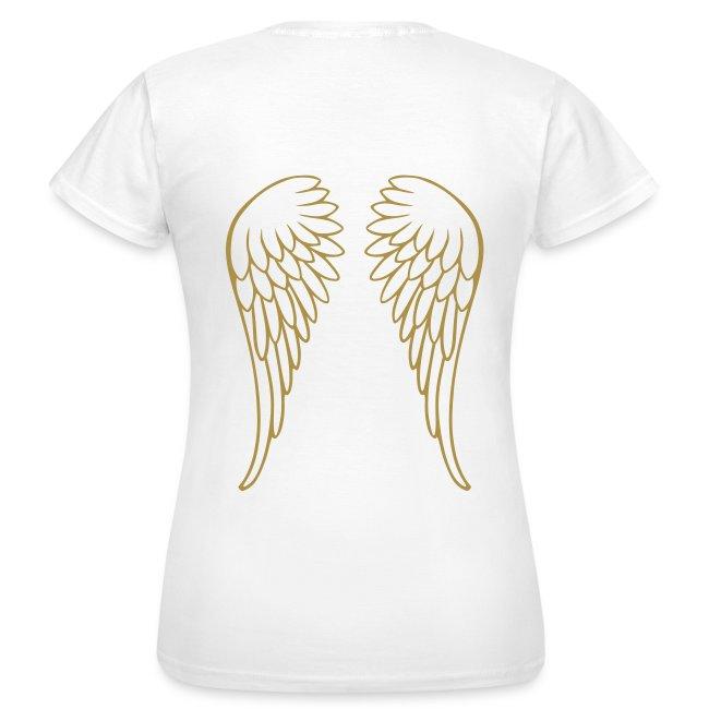 ruthhopeandjoy glitter gold angel wings on back of womens t shirt