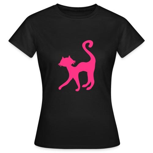 NEON PINK RETRO CAT WOMENS T-SHIRT - Women's T-Shirt