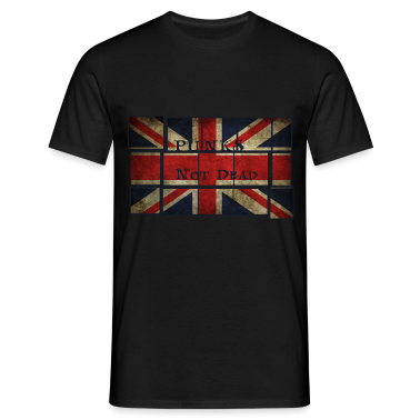 Punks Not Dead sulla bandiera inglese.  T-shirt