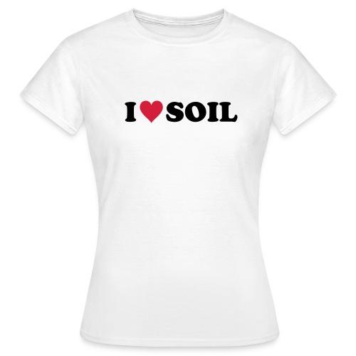 T-Shirt I love Soil, rot-schwarz, front - Frauen T-Shirt