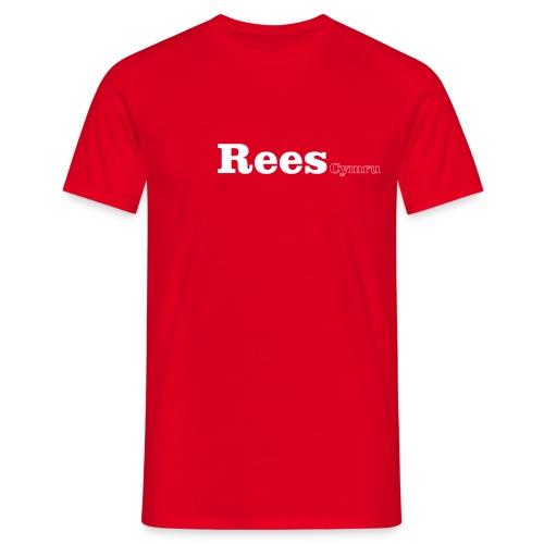 Rees Cymru white text - Men's T-Shirt