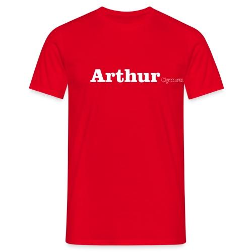 Arthur Cymru white text - Men's T-Shirt