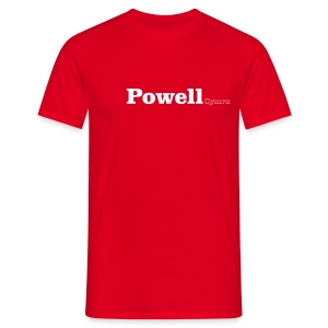Powell Cymru white text - Men's T-Shirt