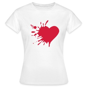heart skinny fit tee white  - Women's T-Shirt
