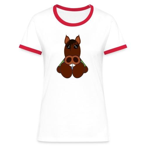 T shirt femme cheval - T-shirt contrasté Femme