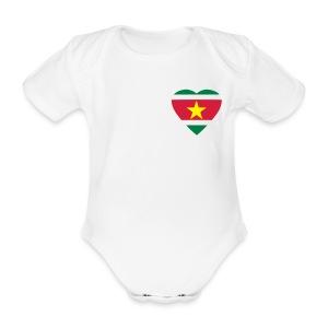 Rompertje Suri-hart - Baby bio-rompertje met korte mouwen
