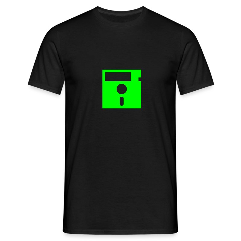 Floppy Disk Monster Green (8-bit Guerrilla) - Men's T-Shirt