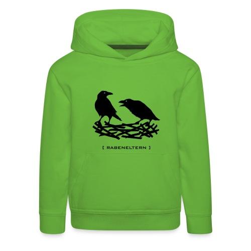 Shirt rabeneltern rabe raven vogel krähe feder nest flügel baby mutter vater tiershirt shirt tiermotiv - Kinder Premium Hoodie