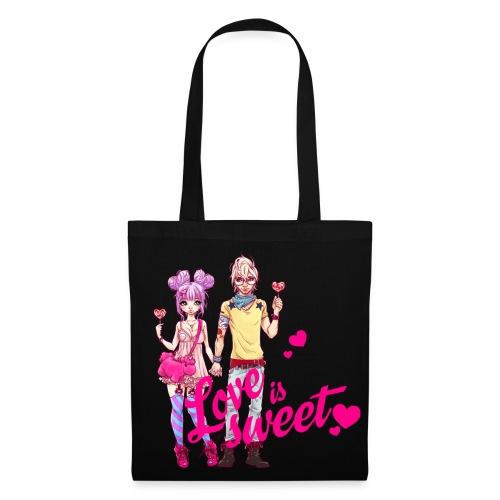 LOVE IS SWEET bag black - Stoffbeutel