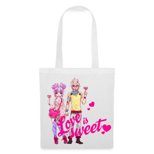 LOVE IS SWEET bag white - Stoffbeutel