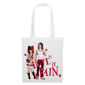 LOVE IS PAIN bag white - Stoffbeutel