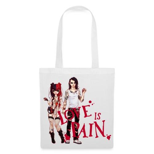 LOVE IS PAIN bag white - Stoffbeutel