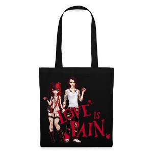 LOVE IS PAIN bag black - Stoffbeutel