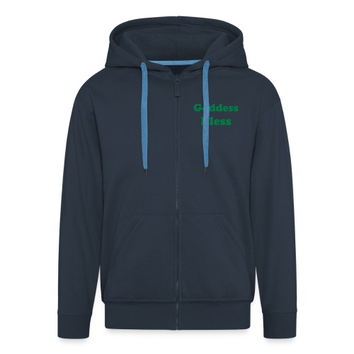 Goddess Bless - Navy with Green Text - Men's Premium Hooded Jacket
