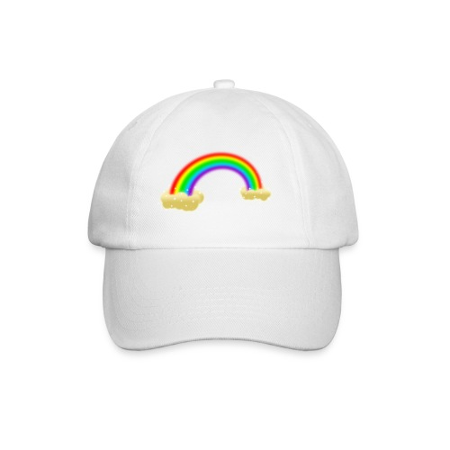 Baseballkappe weiß Regenbogen mit Wolken - Baseballkappe