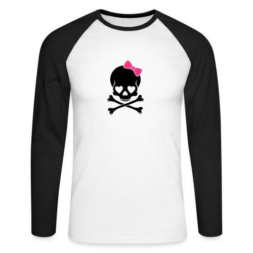 Roller Derby Skull n bow baseball shirt - Men's Long Sleeve Baseball T-Shirt