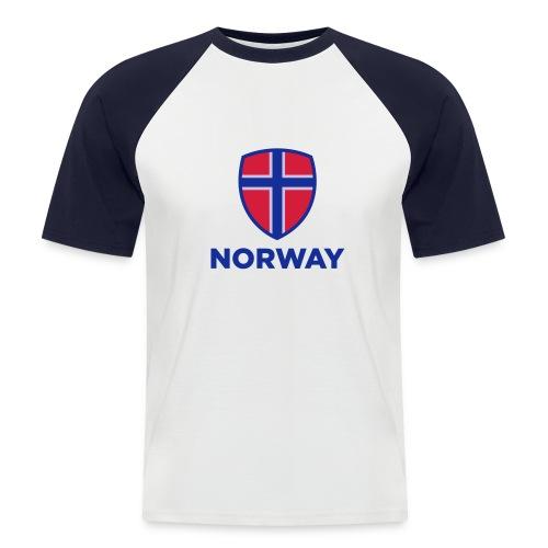 Norge t-skjorte - Kortermet baseball skjorte for menn