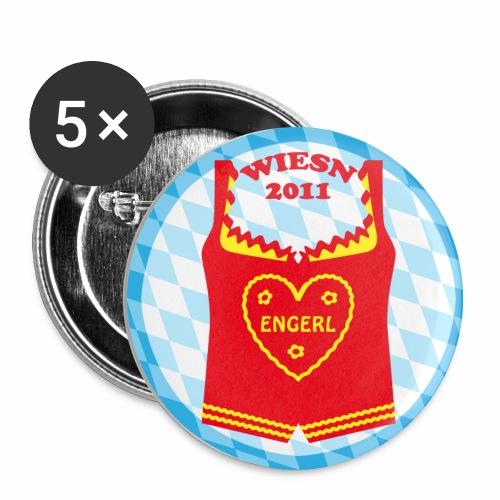 Dirndl Wiesn 2011 Engerl Herz Button Anstecker - Buttons mittel 32 mm (5er Pack)