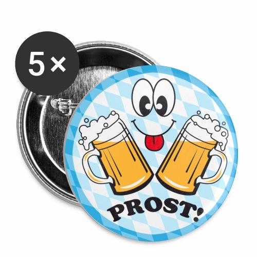 Prost! Witziger Anstecker Bier Smiley Button Anstecker - Buttons mittel 32 mm (5er Pack)