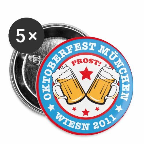 Prost! Witziger Anstecker Bier OKTOBERFEST MÜNCHEN  WIESN 2011 - Buttons mittel 32 mm (5er Pack)