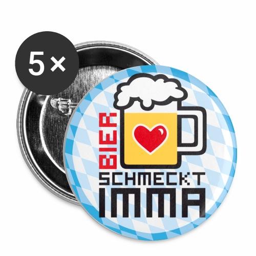 Bier schmeckt IMMA! Witziger Button Anstecker Mass Bier - Buttons mittel 32 mm (5er Pack)
