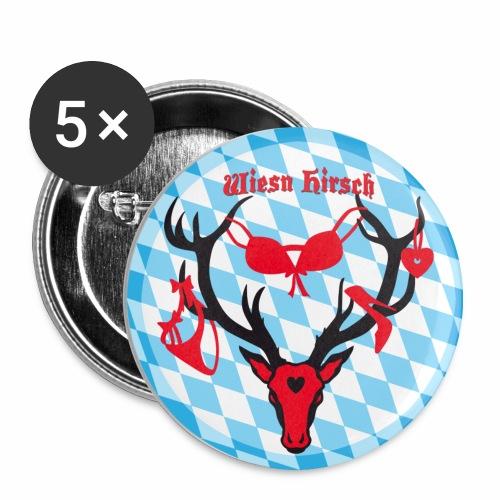 Wiesn Hirsch mit Beute / Brunftzeit Witziger Button Anstecker - Buttons mittel 32 mm