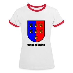 Baseball-Shirt Wappen der Siebenbürger Sachsen 'Siebenbürgen' Transylvania - Erdely - Ardeal - Transilvania - Romania - Rumänien - Frauen Kontrast-T-Shirt