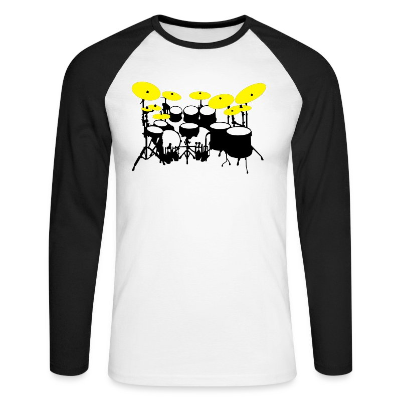 Drums White - Maglia da baseball a manica lunga da uomo