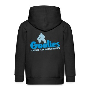'Goalies Tend To Business' Kids' Zip Hoodie - Kids' Premium Zip Hoodie