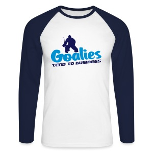 'Goalies Tend To Business' Men's Raglan Shirt - Men's Long Sleeve Baseball T-Shirt