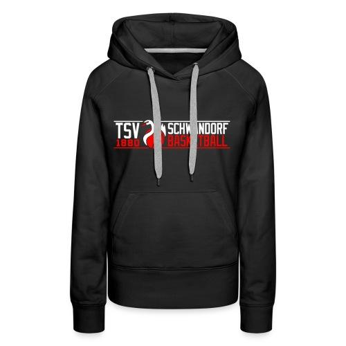 Spielerinnen Sweatshirt schwarz, Flockdruck weiß/neonrot - Frauen Premium Hoodie